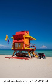 Miami Beach in South Beach with new lifeguard tower and coastline with colorful cloud and blue sky. Florida.