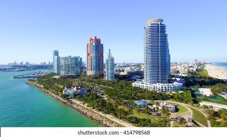Miami Beach sunset skyline from South Pointe Park, Aerial view - Florida, USA.