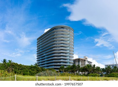 Miami Beach Surfside, FL, USA - June 26, 2021: Photo of 8701 Collins Avenue Condominium which is next door to the recently collapsed Champlain Towers