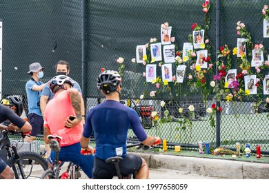 Miami Beach Surfside, FL, USA - June 26, 2021: Photo wall of the lost or missing people from the Champlain Towers collapse on June 24 2021