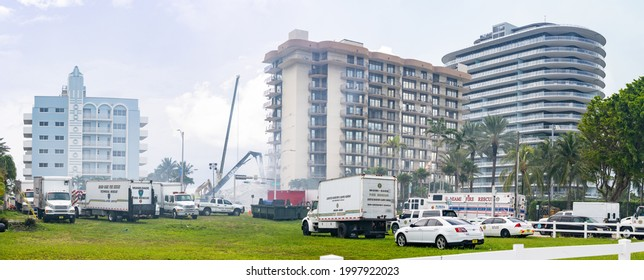 Miami Beach Surfside, FL, USA - June 26, 2021: Scene near the Champlain Towers which collapsed trapping residents on June 24, 2021. National support and rescue efforts are in progress