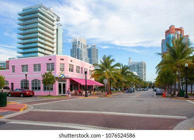 Miami beach, USA, 03/17/2016, Collins Avenue. Collins Avenue stretches from South to North Miami beach, parallel to the Atlantic coast, passes through many famous areas of the city.