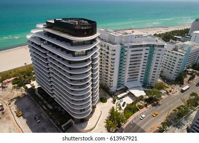 MIAMI BEACH, USA - APRIL 1, 2017: Aerial video of the new and old Faena Residences Miami Beach Florida, USA