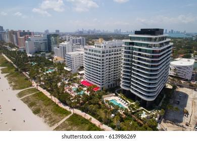 MIAMI BEACH, USA - APRIL 1, 2017: Aerial image of the new Faena House Condominium Miami Beach