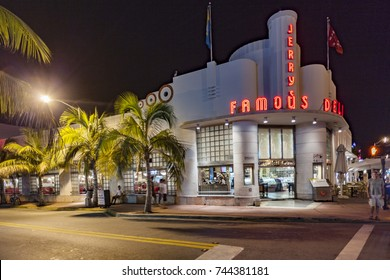 MIAMI BEACH, USA - AUG 2, 2010: Night view at Ocean drive  in Miami Beach, Florida. The art deco building Jerrys famous Deli is a fastfood restaurant and famous by stars and actors in Miami Beach.
