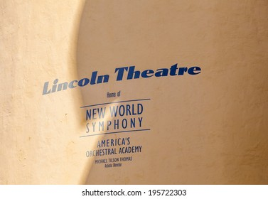 MIAMI BEACH, USA - AUGUST 02, 2010: lincoln theatre sign at housewall  in Miami Beach, Florida.  The Lincoln Theatre is the home of the New World Symphony.