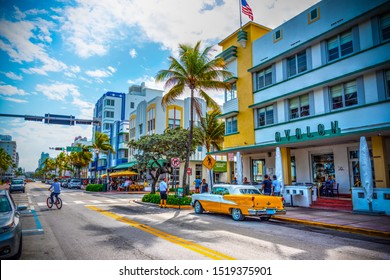 Miami Beach, USA - February 26, 2019: Oldsmobile Rocket 88 parked on Ocean Drive