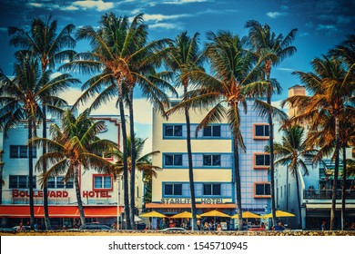 Miami Beach, USA - February 26, 2019: Famous Boulevard and Starlite Hotels in Ocean Drive