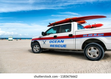 MIAMI BEACH, USA - JUNE 10, 2018 : Ocean Rescue car patrols the beach