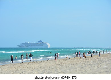 MIAMI BEACH, USA - MARCH 31, 2017 : Cruise ship sails away from Port of Miami. Port of Miami is known as the cruise capital of the world