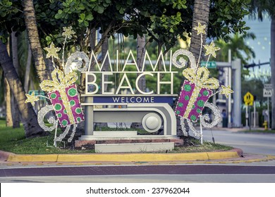 Miami Beach welcome sign with christmas decoration, Florida