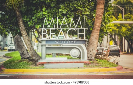 Miami Beach welcome sign, Florida. Vintage colors