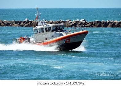 Miami Beach,Florida,U.S.A. May 31,2019.  Coast Guard shark boat returning to it home station on Miami Beach.