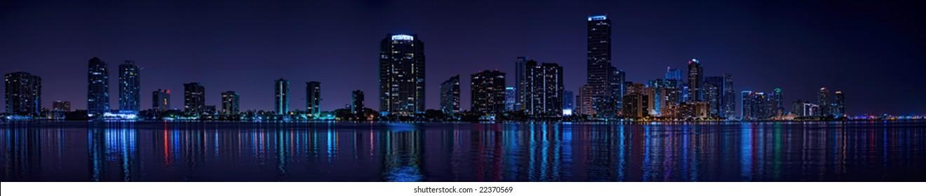 Miami Biscayne Bay late evening panorama