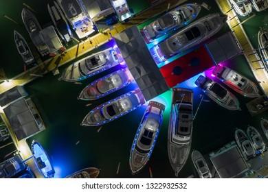 Miami boat show night overhead shot neon lights