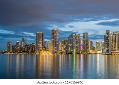 Miami business district, lights and reflections of the city lights