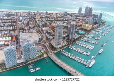 Miami Canal, MacArthur Causeway and South Pointe Park, view from helicopter.