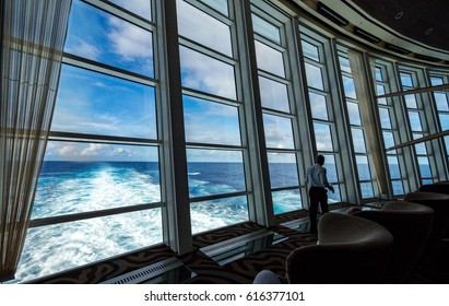MIAMI, CIRCA JAN 2015: Interior design of unidentified deck and modern art of Quantum of the seas, high technology cruise ship of Royal Caribbean brand, in Miami.