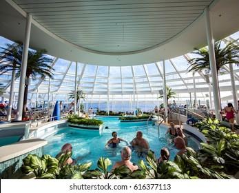 MIAMI, CIRCA JAN 2015: Interior swimming pool of Quantum of the seas, high technology cruise ship of Royal Caribbean brand, in Miami.