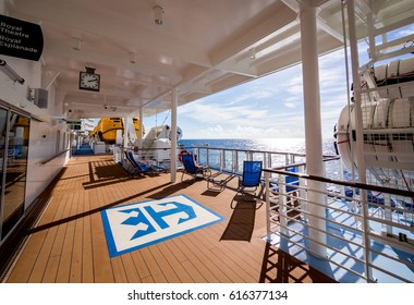MIAMI, CIRCA JAN 2015: Unidentified deck of Quantum of the seas, high technology cruise ship of Royal Caribbean brand, in Miami.