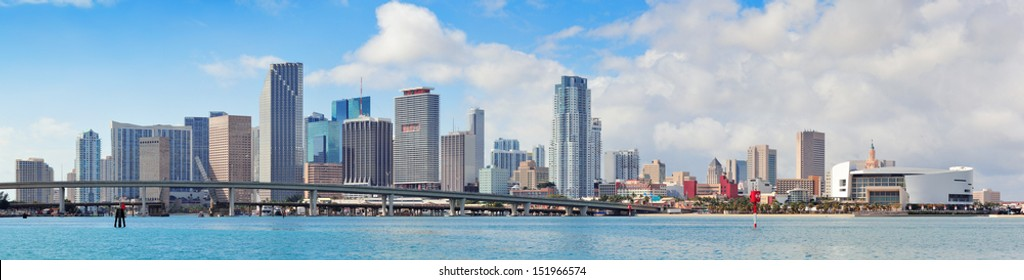 Miami city skyline panorama over sea