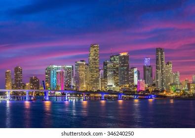 Miami City Skyline viewed from Biscayne Bay