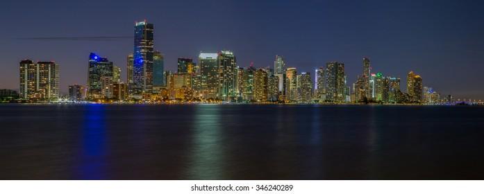 Miami City Skyline viewed from Biscayne Bay Panorama