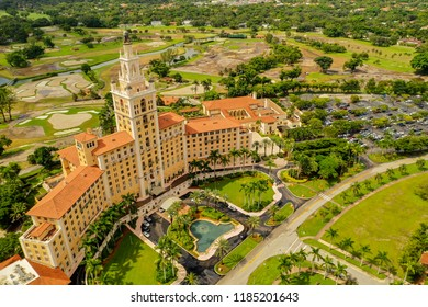 MIAMI CORAL GABLES, FLORIDA, USA - SEPTEMBER 15, 2018: Biltmore Hotel Miami and golf course landscape in the background