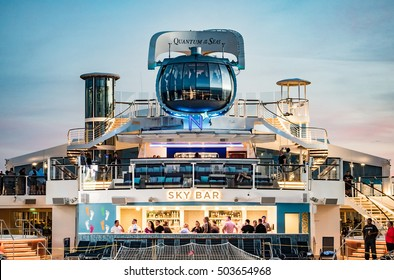 MIAMI - CRCA JAN 2015: Classic Scenario in a cruise of Quantum of the Seas, high technology cruise ship of Royal Caribbean line.
