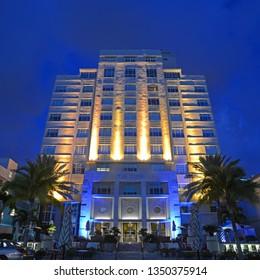 MIAMI - DEC 24, 2012: Art Deco Style Building The Tides Hotel at night in Miami Beach, Miami, Florida, USA.