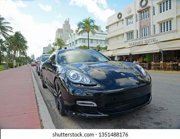 MIAMI - DEC 24, 2012: Porsche 911 GT Turbo on Ocean Drive in South Beach, Miami Beach, Florida, USA.