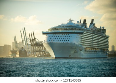 MIAMI - DECEMBER 30, 2018: Royal Caribbean's Allure of the Seas, the world's largest passenger cruise ship, leaves port at a time when the environmental impact of the cruise industry is under scrutiny