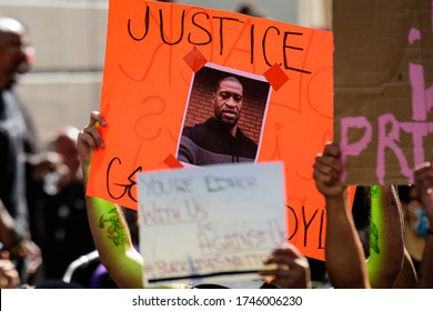 Miami Downtown, FL, USA - MAY 31, 2020: George Floyd death: people are protesting and rioting