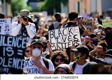 Miami Downtown, FL, USA - MAY 31, 2020: Black Lives Matter. The US city and racial inequalities. Black population. George Floyd protests in South Florida, curfew imposed