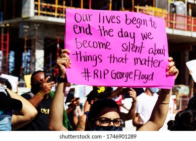 Miami Downtown, FL, USA - MAY 31, 2020: RIP George Floyd. Demonstration against racism, US activist. Emotional anti racism demonstrations. Protests in the United States