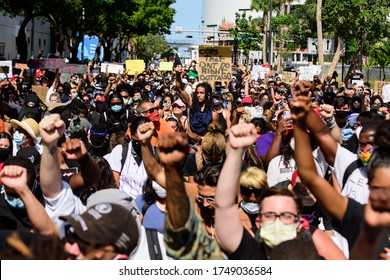Miami Downtown, FL, USA - MAY 31, 2020: Black Lives Matter, I Cant Breathe Protest for George Floyd