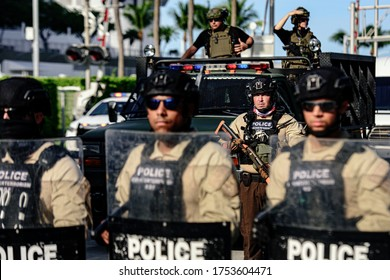 Miami Downtown, FL, USA - MAY 31, 2020: U.S police officers and military