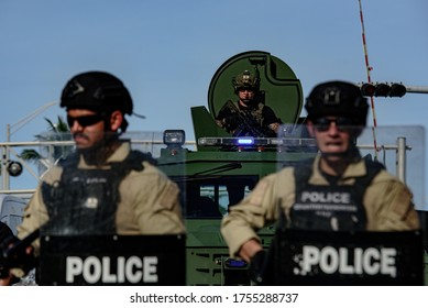 Miami Downtown, FL, USA - MAY 31, 2020: US police and military together
