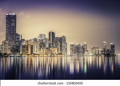 Miami downtown at night in South Florida