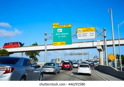 Miami downtown traffic driving to Miami beach in Florida USA