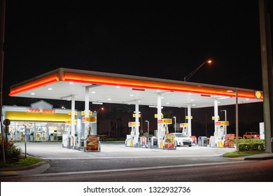 MIAMI - FEBRUARY 24, 2019: Photo of a gas station at night
