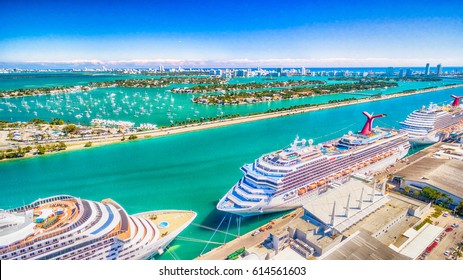 MIAMI - FEBRUARY 27, 2015: Port of Miami with cruise ships. Miami is a major port in United States for cruises.
