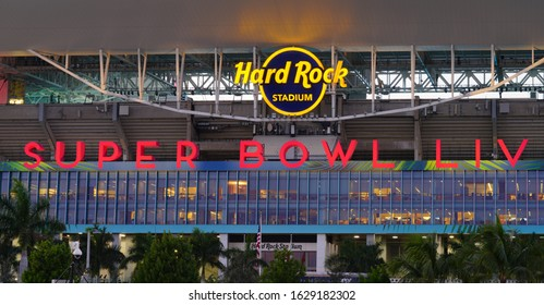 MIAMI, FL -28 JAN 2020- View of the Hard Rock Stadium, located in Miami Gardens, Florida. It will host the Superbowl LIV 54 on February 2, 2020.