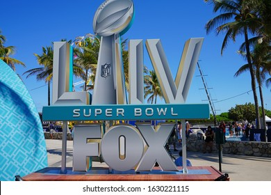 MIAMI, FL -28 JAN 2020- View of the Superbowl LIV 54 sign near the FOX broadcast studios in Miami Beach to happen on February 2, 2020 at the Hard Rock Stadium in Miami Gardens.
