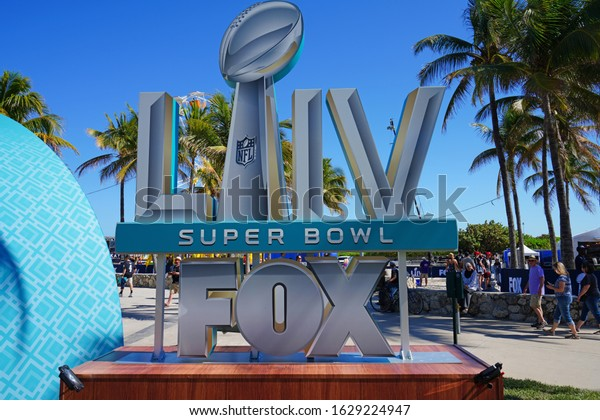 MIAMI, FL -28 JAN 2020- View of the FOX Sports reporting stage in Miami Beach for the Superbowl LIV 54, to happen on February 2, 2020.