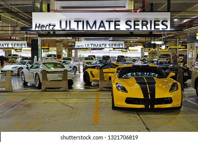 MIAMI, FL -3 JAN 2019- View of luxury cars from the Hertz Ultimate Series at the rental car center at the Miami International Airport (MIA), formerly Wilcox Field.
