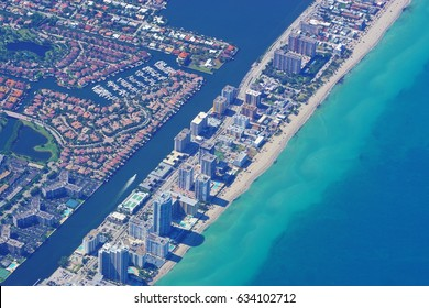 MIAMI, FL -3 MAY 2017- Aerial view of buildings along Miami Beach, Florida. Miami is threatened by rising sea levels and climate change.