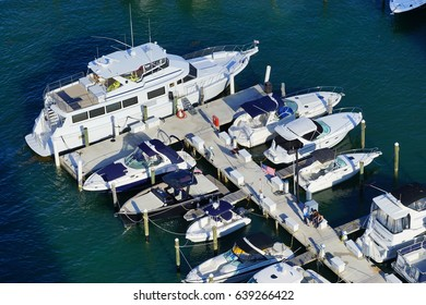 MIAMI, FL -3 MAY 2017- View of a boat and yachting marina near Biscayne Island and the Venetian Way linking Miami to South Beach over the Intercoastal Waterway in Miami, Florida.