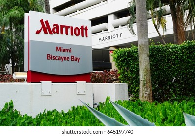 MIAMI, FL -3 MAY 2017- View of the Miami Marriott Biscayne Bay hotel, a large business travel hotel located on the Intercoastal Waterway in Miami, Florida.