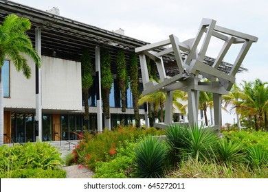 MIAMI, FL -4 MAY 2017- View of the Perez Art Museum Miami (PAMM), a contemporary art museum opened in 2013 in Museum Park in downtown Miami.